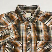 Old Navy Pearl Snap Shirt Men's Medium Long Sleeve Multi Plaid Casual Cotton