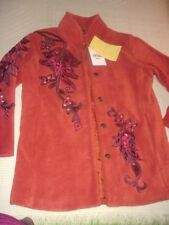 Bob Mackie QVC Style boho floral embroidered orange fleece coat jacket XS 4 NWT