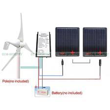 580W Hybrid Wind System: 2x90W Mono Solar Panel W/ 400W Wind Turbine 12V Power