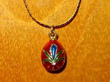 Russian FABERGE inspired RED ENAMEL BLUE Flower & Swarovsky Crystals EGG pendant