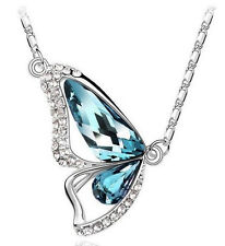 Crystal Blue Butterfly Necklace for Lovely Women Free Shipping Jewelry Bag Gift