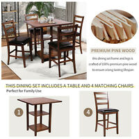 Counter Height Dining Set 5Pcs Set Square Dining Table 4 Padded Chairs Wooden