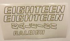 "Raleigh ""EIGHTEEN"" bike decal/stickers, set of 4"