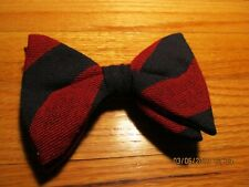 Vtg Large Bow Tie Clip On Rockabilly - Red/ Blue Stripe Royal Rust Resistant