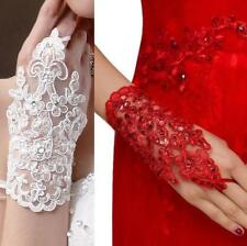 GANTS MITAINES DENTELLE MARIAGE BAPTÊME SOIRÉE CHIC BLANCHE ROUGE SEXY STRASS