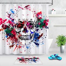 Watercolor Splash Halloween Skull Shower Curtain Set Bathroom Fabric w/12 Hooks