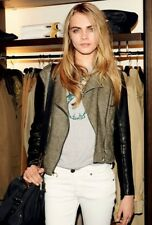 AUTH BURBERRY Brit CONTRAST LEATHER Motorcycle Moto Jacket US 8 $795