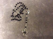 Black Beaded Rosary Necklace
