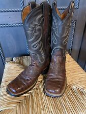 Dan Post Western Full Quill Ostrich Western Square Toe Ladies Boots Size 6 M