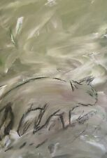 Cat In Storm original by artist Ooak Small Green Grey Charcoal Drawing