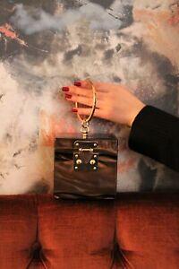 Brown Marble Boxy Acrylic Clutch Bag