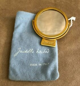Judith Leiber gold tone Compact Makeup Mirror Two Sided Signed purse accessory