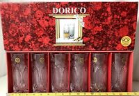 "Vintage Dorico RCR Lead Crystal Glasses Set Of Six, 6"" Tall Glasses New In Box"