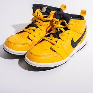 Nike Jordan 1 Mid Yellow Black White TD Toddler Size 10c Mid Shoes 640735-700