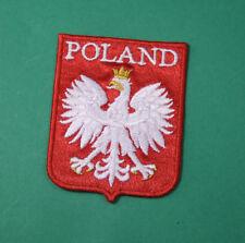 EAGLE & Crown, Beautiful Polish Army badge for hat cap arm, RED SHIELLD POLAND