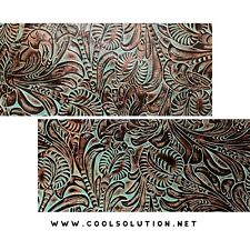 Embossed Leather Floral Turquoise, Custom Cuts, Leather Sheets 8x8,10x8,12x18 In