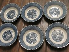 """6 Royal China Currier and Ives 5 5/8"""" Fruit Dessert Bowl """"The Old Farm Gate"""" EUC"""