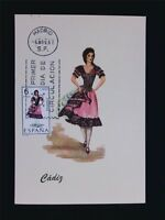 SPANIEN MK 1967 TRACHTEN CADIZ COSTUMES MAXIMUMKARTE MAXIMUM CARD MC CM c5488