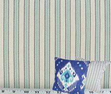 Drapery Upholstery Fabric 100% Cotton Classic Ticking Stripe Robin's Egg / Ivory