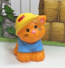 Fisher Price Little People Animal Zoo Pet Construction Cat Orange Hard Hat