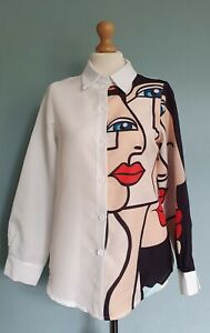 Abstract Modern Art Long Sleeved White Ladies Button Down Blouse Size S