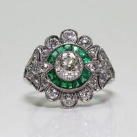 Fashion 925 Silver  Antique Emerald Gemstone Ring Wedding Women Jewelry Sz 6-10