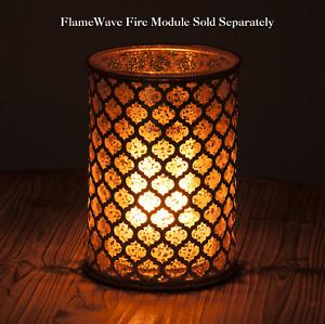 MERCURY GLASS Candle Holder HURRICANE 70951 Gold Metal MOROCCAN DESIGN New MINT