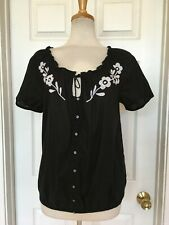 BANANA REPUBLIC embroidered peasant top size M