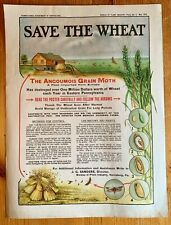 "1919 PA Department of Agriculture Farming Poster * ""Save the Wheat"" Moth"