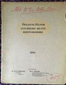 1914 Property particulars, auction of Piggotts Manor, Letchmore Heath, Herts
