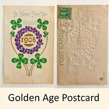 A Happy New Year Embossed Postcard Clovers Pansies Franklin Stamp 1908