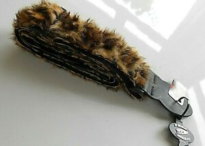 """Leopard Adjustable Electric Guitar Strap Fluffy Faux Furry Fur UK Made 2"""" Wide"""