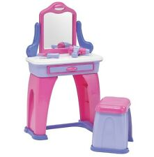 Vanity Set For Girls With Mirror And Bench Kids Plastic Drawer Toddler Toys Pink