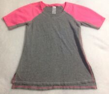 IVIVVA By Lululemon Shirt Sz 8 Athletic Top Gray Neon Pink Short Sleeves Sports