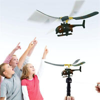 Pull String Handle Helicopter Plane Aircraft Drone Kids Outdoor Flying Toy Gift