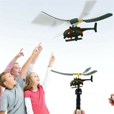 Pull String Handle Helicopter Plane Funny Aircraft  Kids Outdoor Flying Toy Gift