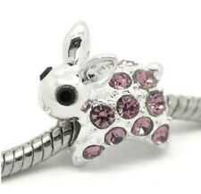 PURPLE CRYSTAL RABBIT CHARM BEAD FOR BRACELET OR NECKLACE