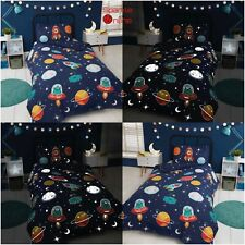 Glow in The Dark Space Rockets Planets & Aliens Single Duvet Quilt Cover Bedding
