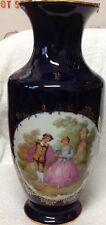 Victorian Scene Fragonard Signed Limoges Handcrafted Cobalt Blue Porcelain Vase