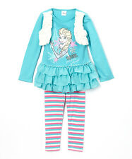 Disney Blue Frozen Ruffle Top & Stripe Leggings Set - Size 6 NWT Girls