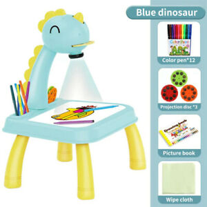 Kids Painting Board Desk Arts Children Led Projector Art Drawing Table Toys