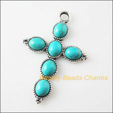 2Pcs New Retro Charms Tibetan Silver Turquoise Oval Cross Pendants 40.5x61mm
