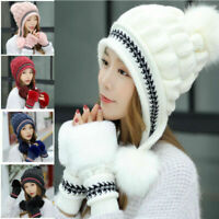 Womens Winter Hats Gloves Set Warm Snow Hats Knitted Caps Gloves Christmas Gifts