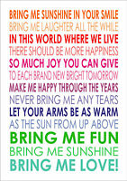 Bring Me Sunshine Art Wall Canvas Typography Inspiring Quote Lyrics Nursery
