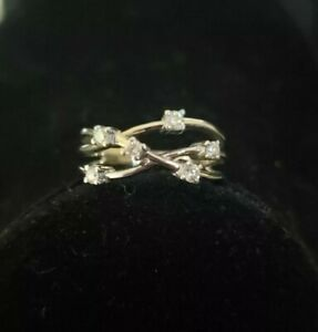 14K White Gold 6 Free Floating Diamond Ring