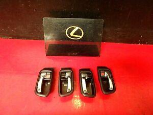 01-05 LEXUS IS300 DOOR HANDLE LOCK TRIM BEZEL FRONT REAR LEFT RIGHT X4 BLACK OEM