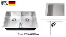 760mm Kitchen Sink Square Edge Handmade 304 Stainless Steel Undermount Topmount