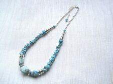 "TURQUOISE GEMSTONE Howlite Chunky BEADED SP Necklace Chain Gift Bag 18"" Gemstone"