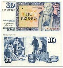 Iceland 10 Kronur 1961 year BrandNew Banknotes