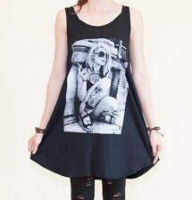 Kate Moss Blondie Punk Smoke Loose Fit Sexy Tunic Dress Tank Vest Black Size M L